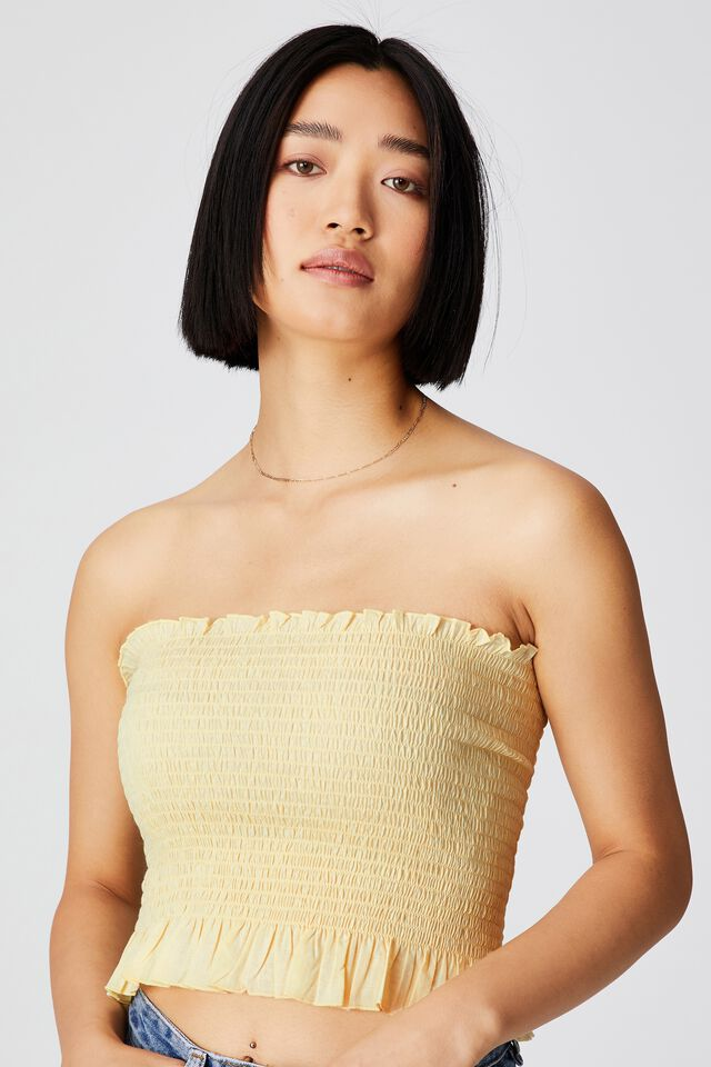 Sunseeker Shirred Boob Tube Petite, LEMON