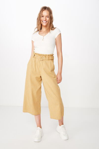 High Waist Culotte 2, ABBY GINGHAM TAFFY SELF BUCKLE