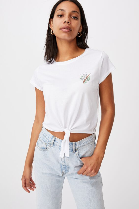 Tie Front Graphic Tee, HANGIN ABOUT/WHITE