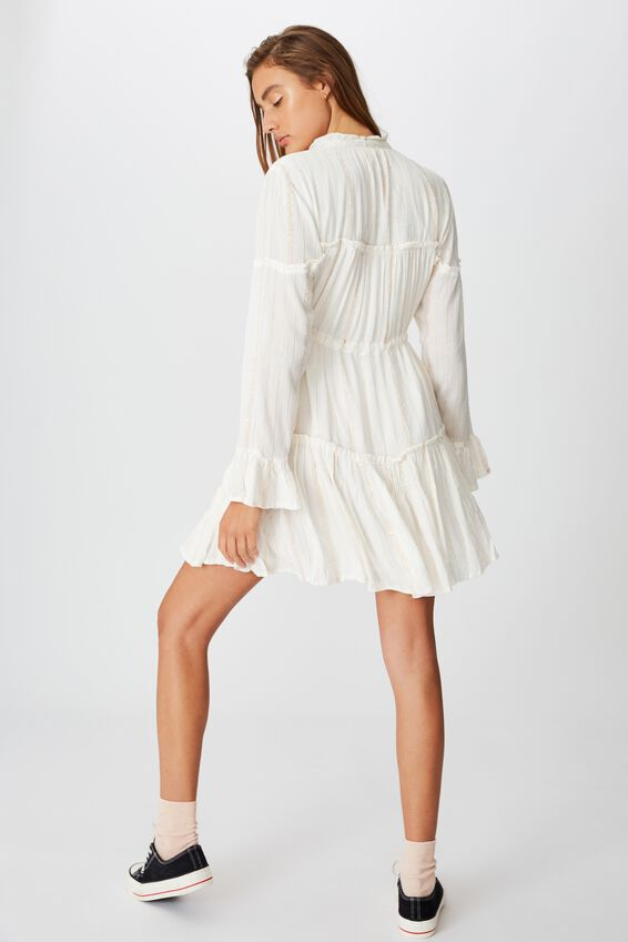 Woven Carni Smock Mini Dress, WHITE