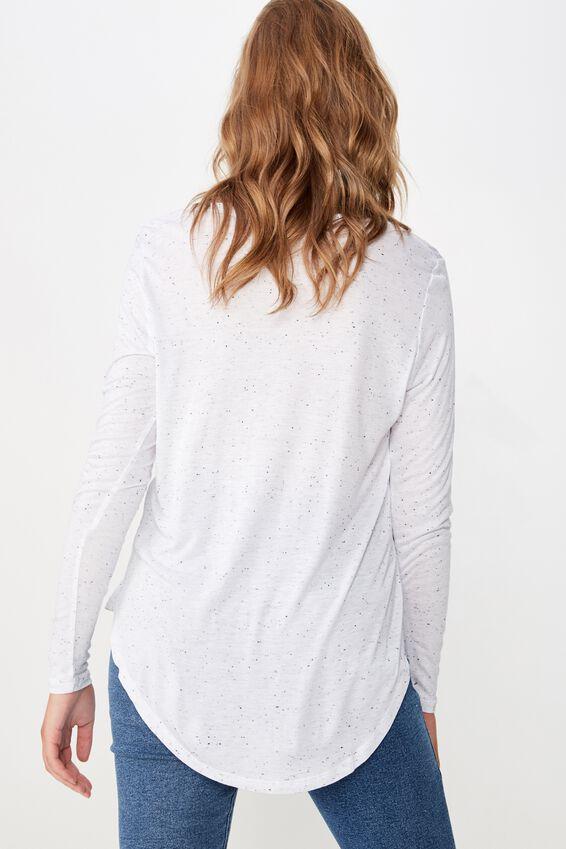 Karly Long Sleeve Top, NEP WHITE BODY/BLACK
