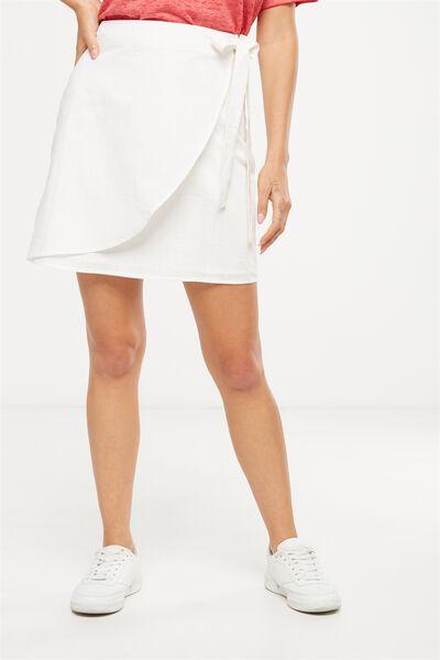 Woven Mel Mini Wrap Skirt, WHITE TEXTURE