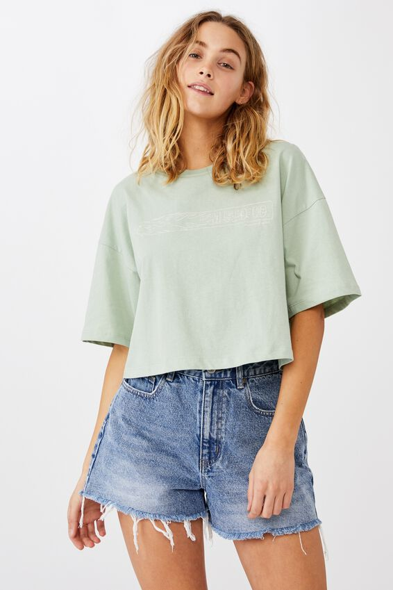 Chopped Boyfriend Tee, MOTOR CO JAMIESON/LUSH GREEN