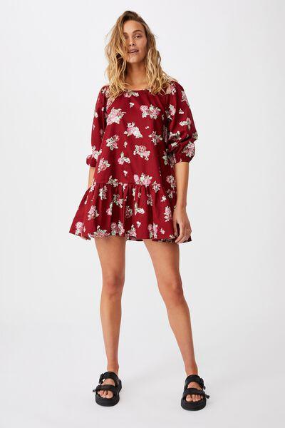 Woven Joselyn Long Sleeve Smock Mini Dress - Petit, KIRSTY ROSE SUNDRIED TOMATO