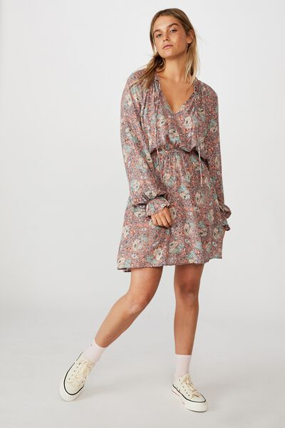 Woven Kasey Long Sleeve Smock Dress, EMILY FLORAL PAISLEY CANYON CLAY