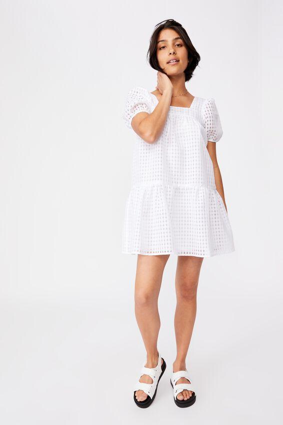 Woven Kit Puff Sleeve Babydoll Tie Back Mini Dress, LUNAR WHITE