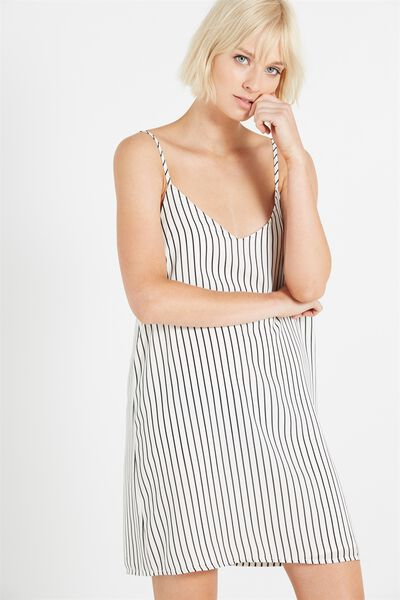 Woven Margot Slip Dress, PILOT STRIPE WHITE BLACK