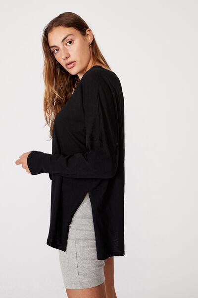 Oversized Side Split Long Sleeve Top, BLACK