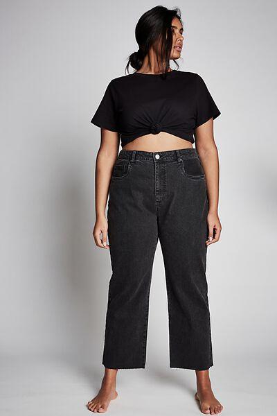 Curve Millie Straight Leg Jean, STONE WASH BLACK