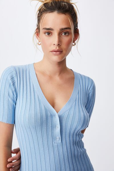 Sustain Me Henley Mini Dress, WAVE WASHED BLUE