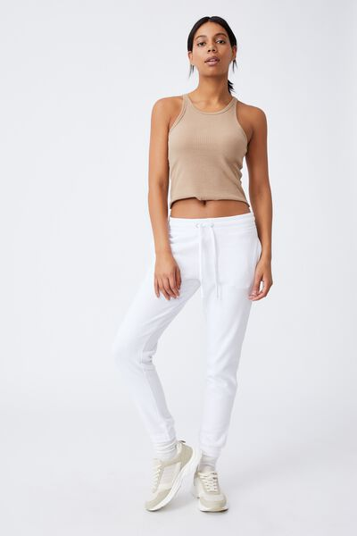 Slim Fit Trackpant, WHITE
