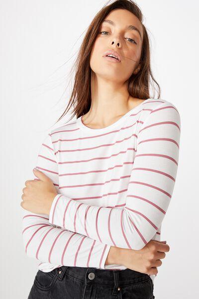 Kathleen Long Sleeve Top, ZOE STRIPE WHITE/ROSE WINE