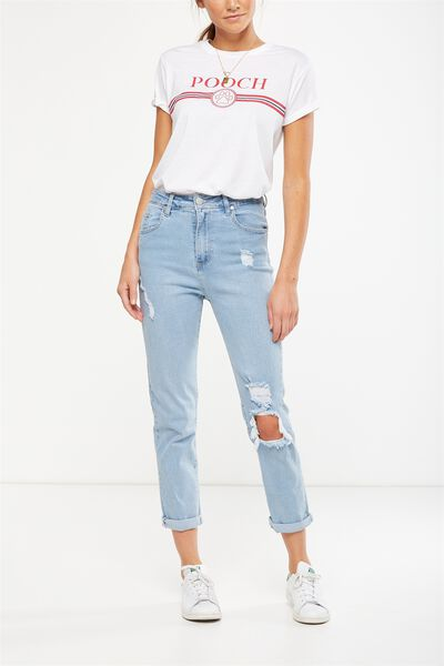 High Rise 90S Stretch Jean 2, ISLAND SUMMER LIGHT BLUE RIPS