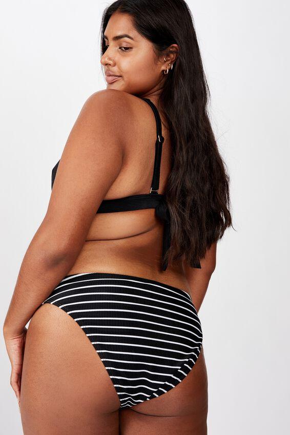 Curve High Side Brazilian Bikini Bottom, BLACK/WHITE STRIPE RIB