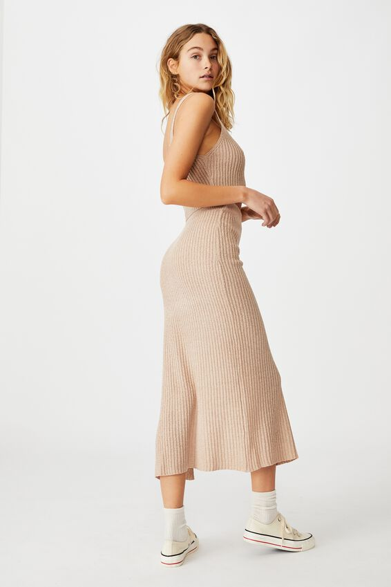 Match Me Knit Midi Skirt, LATTE