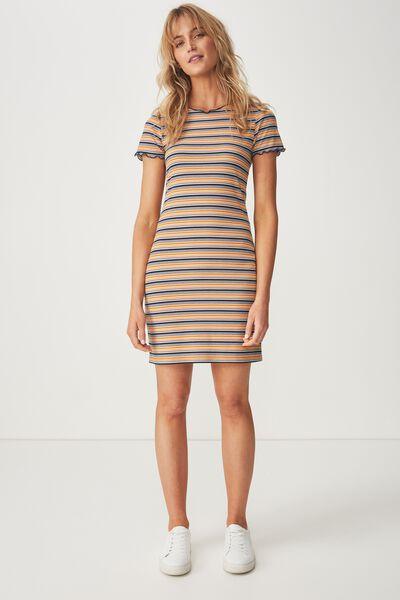 Gracie Lettuce Edge Tshirt Dress, ABI STRIPE MULTI