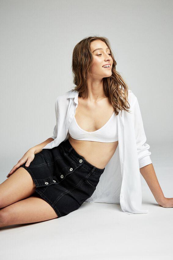 Skye Denim Mini Skirt, VINTAGE BLACK