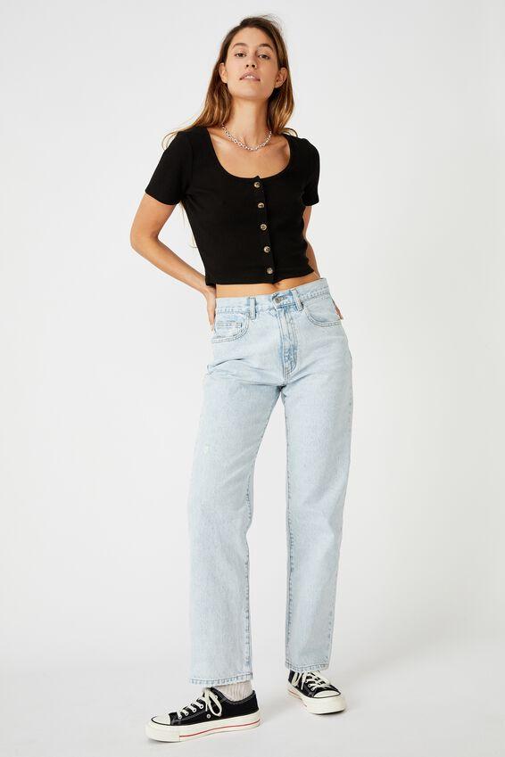 Leni Button Through Short Sleeve Top, BLACK