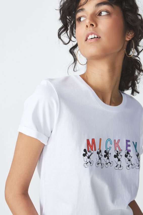 Mickey Graphic T Shirt, LCN MICKEY LETTERS/WHITE