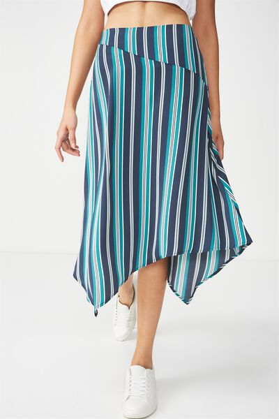 Woven Amy Assymetric Hem Midi Skirt, SOPHIA STRIPE TEALGREEN