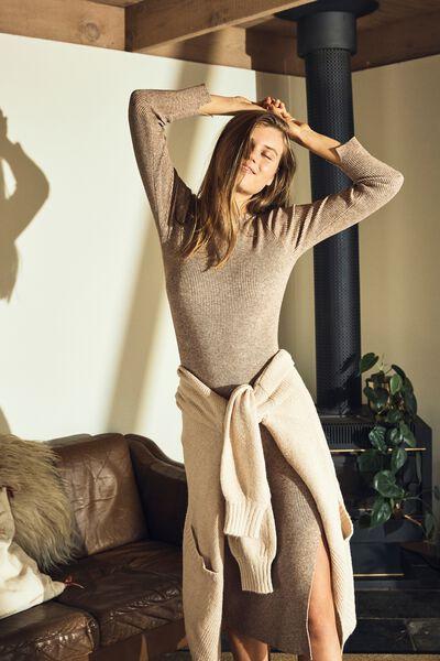 Ella Knit Long Sleeve Maxi Dress, ACORN MARLE