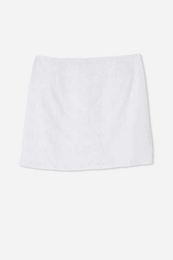 Straight Talking Mini Skirt, WHITE BRODERIE