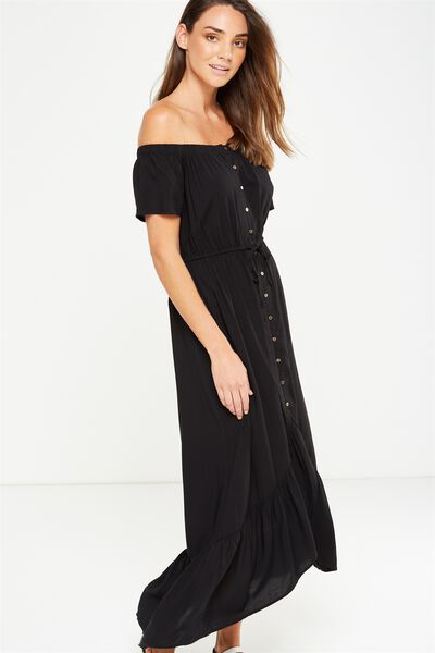 Woven Willa Off The Shoulder Dress, BLACK