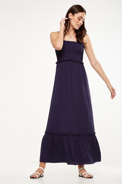 Woven Miranda Shirred Strappy Maxi Dress, NAVY
