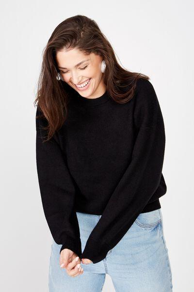 Curve Chloe Crew Luxe Pullover, BLACK
