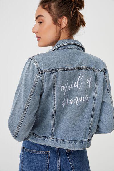 Girlfriend Denim Jacket Embroid Personalisation, CABARITA BLUE