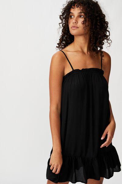 Woven Louise Drop Hem Mini Dress, BLACK