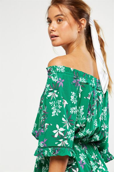Woven Rosie Off The Shoulder Mini Dress, PEARL SPRIG PRINT JELLY GREEN