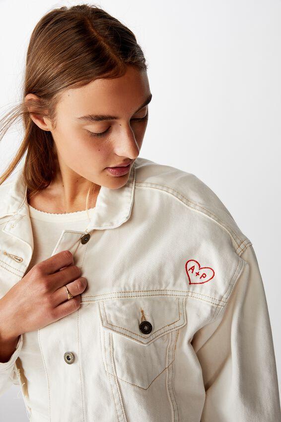 Personalised Os Denim Jacket Love Heart, WHITE ALYSSIUM