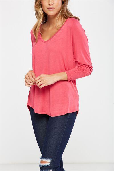 Keira Long Sleeve T Shirt, AMARANTH