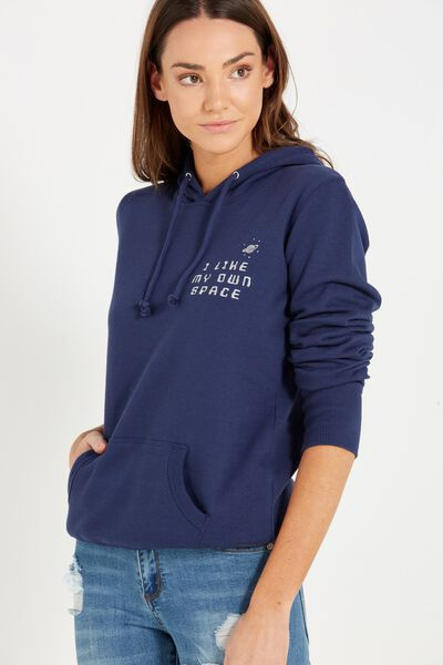 Delevingne Graphic Hoodie, PERSONAL SPACE/SPACE NAVY