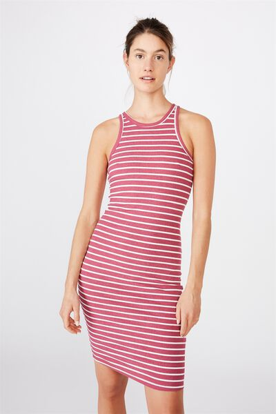 Kirsty Racerback Bodycon Midi Dress, COLE STRIPE MALAGA MARLE/WHITE RIB