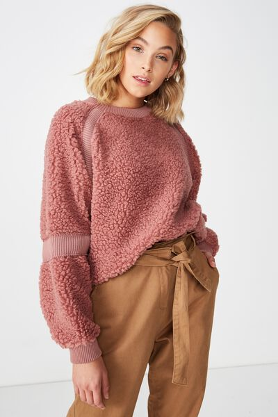 Teddy Batwing Pullover, CLOUDY GRAPE