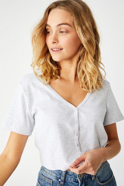 Jessie Button Through Henley Short Sleeve Top, SILVER MARLE