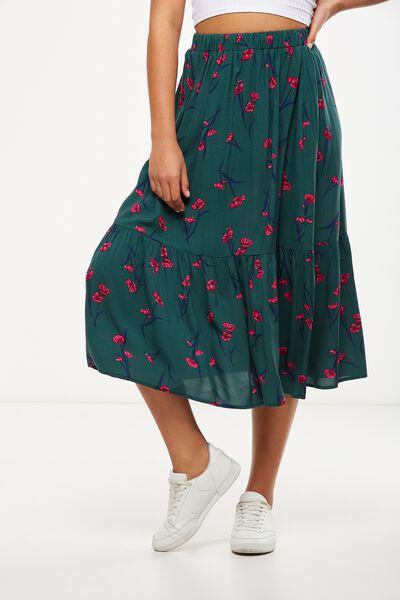 Woven Cherry Midi Skirt, ISABELLE FLORAL TREKKING GREEN