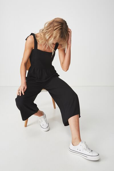 Woven Alexa Strappy Jumpsuit, BLACK