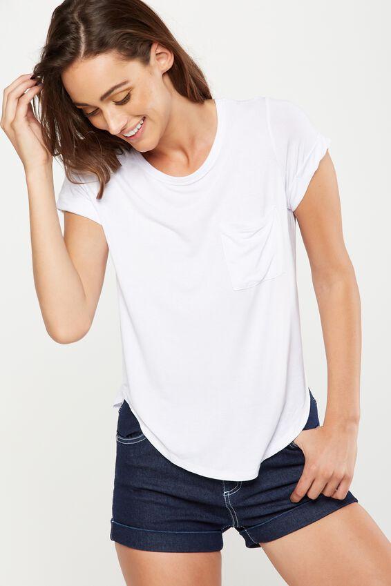 Kathleen Short Sleeve Top, WHITE