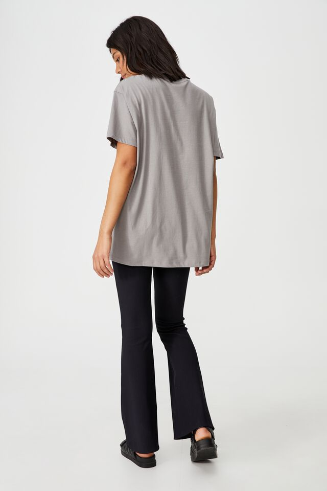 The Relaxed Boyfriend Graphic Tee, LCN PER ACDC FLORAL EMB/THUNDER GREY