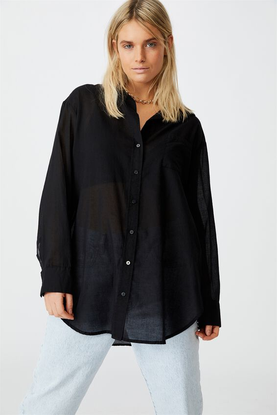 Savannah Oversize Resort Shirt, BLACK