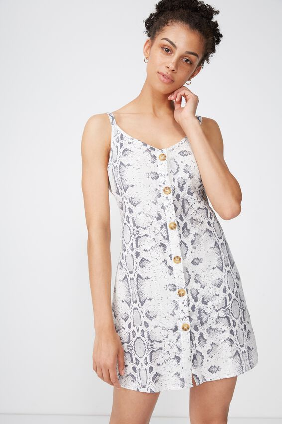 Woven Margot Slip Dress, BUTTON THROUGH BECCA SNAKE