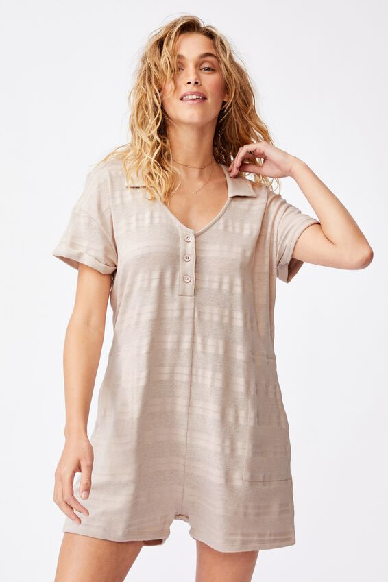 Loulou Polo Romper, TAUPE