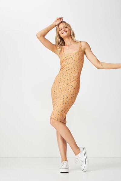 Kimi Scooped Bodycon Midi Dress, ELLA LEOPARD DITSY INCA GOLD