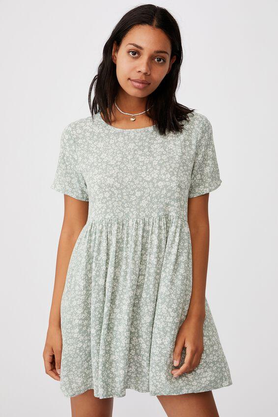 The Good Times Babydoll Mini Dress, NICOLE DITSY LUSH GREEN MINI
