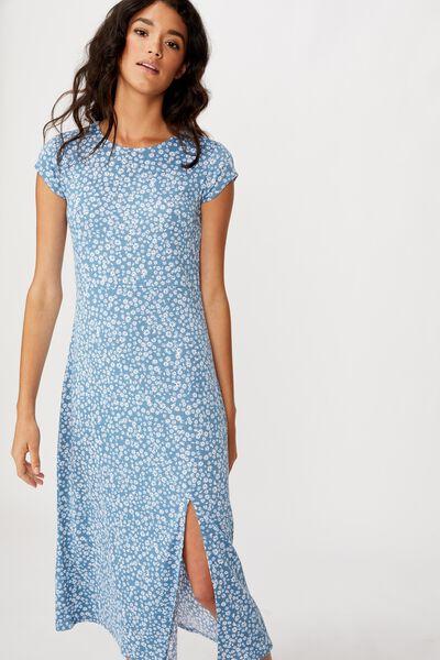 Elsa Short Sleeve Split Front Midi Dress, FRANKIE DITSY PROVINCIAL BLUE