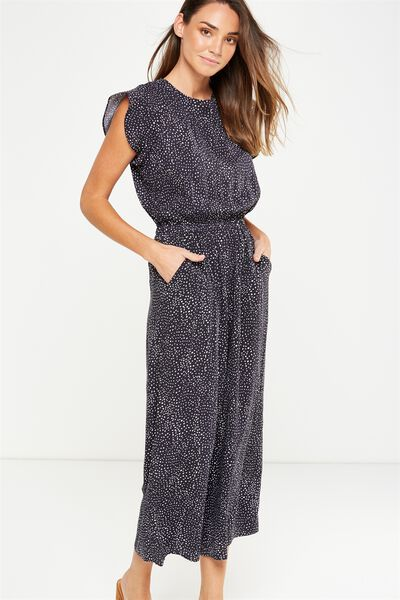 Woven Shay Flutter Sleeve Jumpsuit, TERRY TEXTURE BLUE GRAPHITE