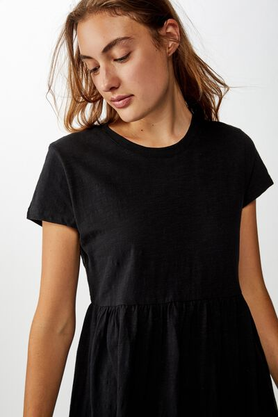 Tina Babydoll Tshirt Dress, BLACK